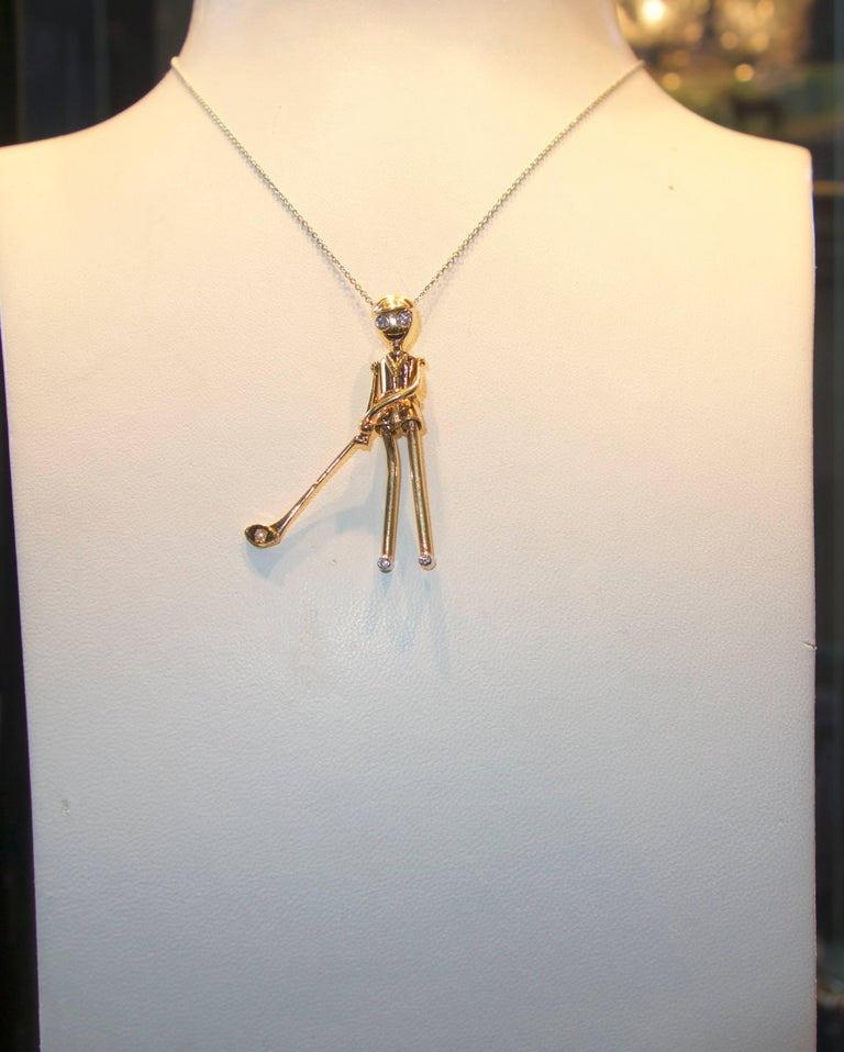 Golfer Pendant in Gold with Diamonds For Sale 1