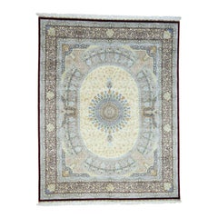Gombad Design Pure Silk 600 Kpsi Hand Knotted Oriental Rug