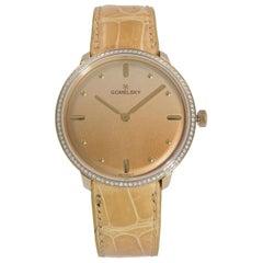 Gomelsky Audry Steel Tan Dial Diamond Bezel Quartz Womens Watch G0120151729
