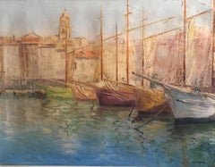 Tranquil Spanish Fishing Port, Signed Oil