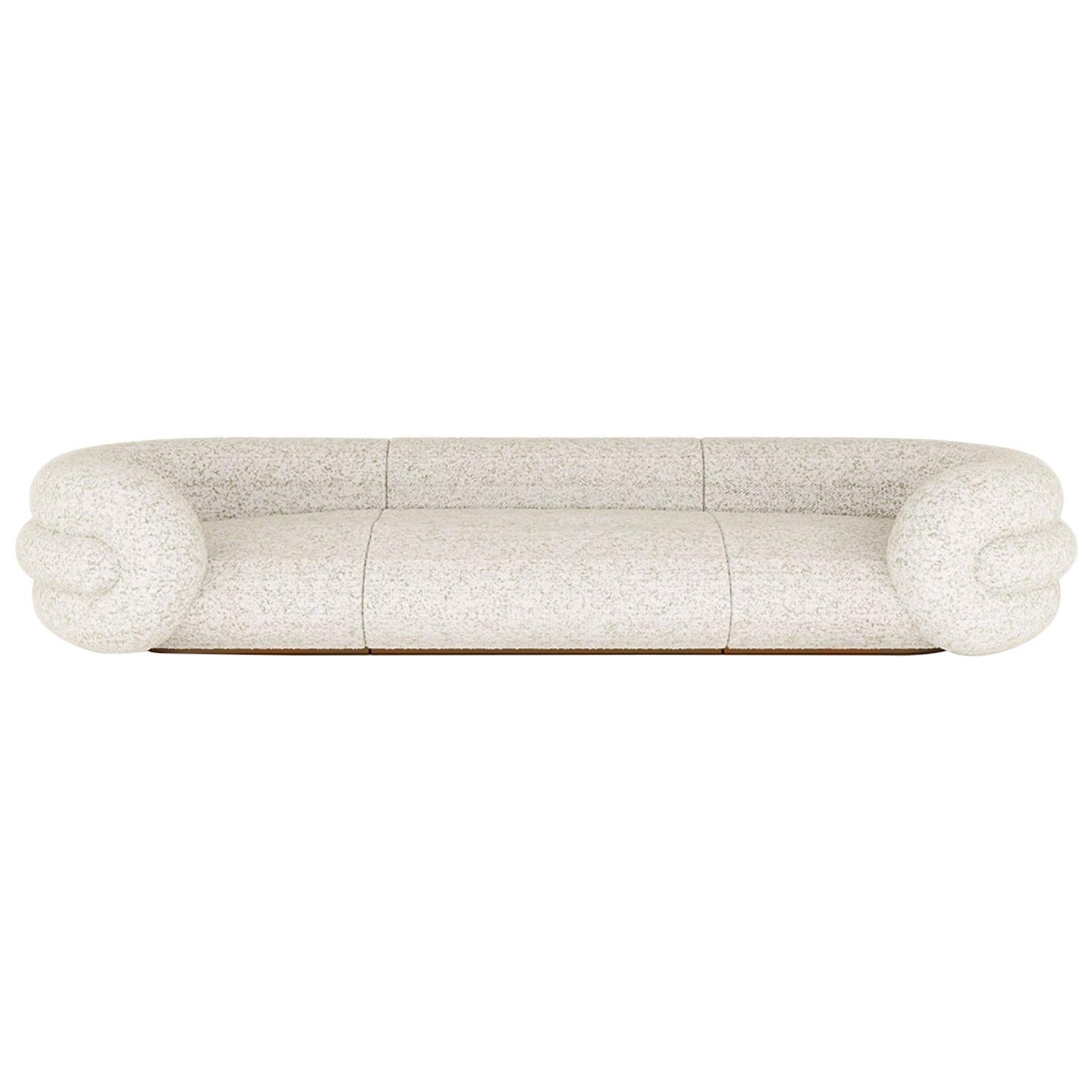 Gommosa Sofa in Boucle Fabric and Walnut Veneer