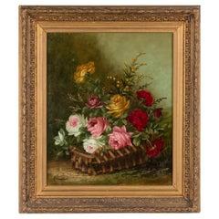 Gondois A Painting Flower Stillife Roses Basket Antique, A