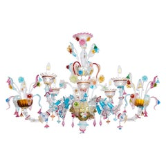 Gondola Chandelier with Colorful Finishes in Blown Murano Glass, Italy, 1980s