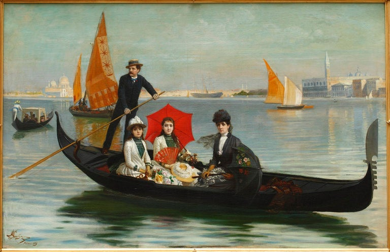 Picturesque scene of a family ride in gondola on a canal in Venice signed G. Mantegazza.  Unlike the 18thcentury painters who portray Venice in a very architectural way with the genre of the veduta (based on the perspective representation of an