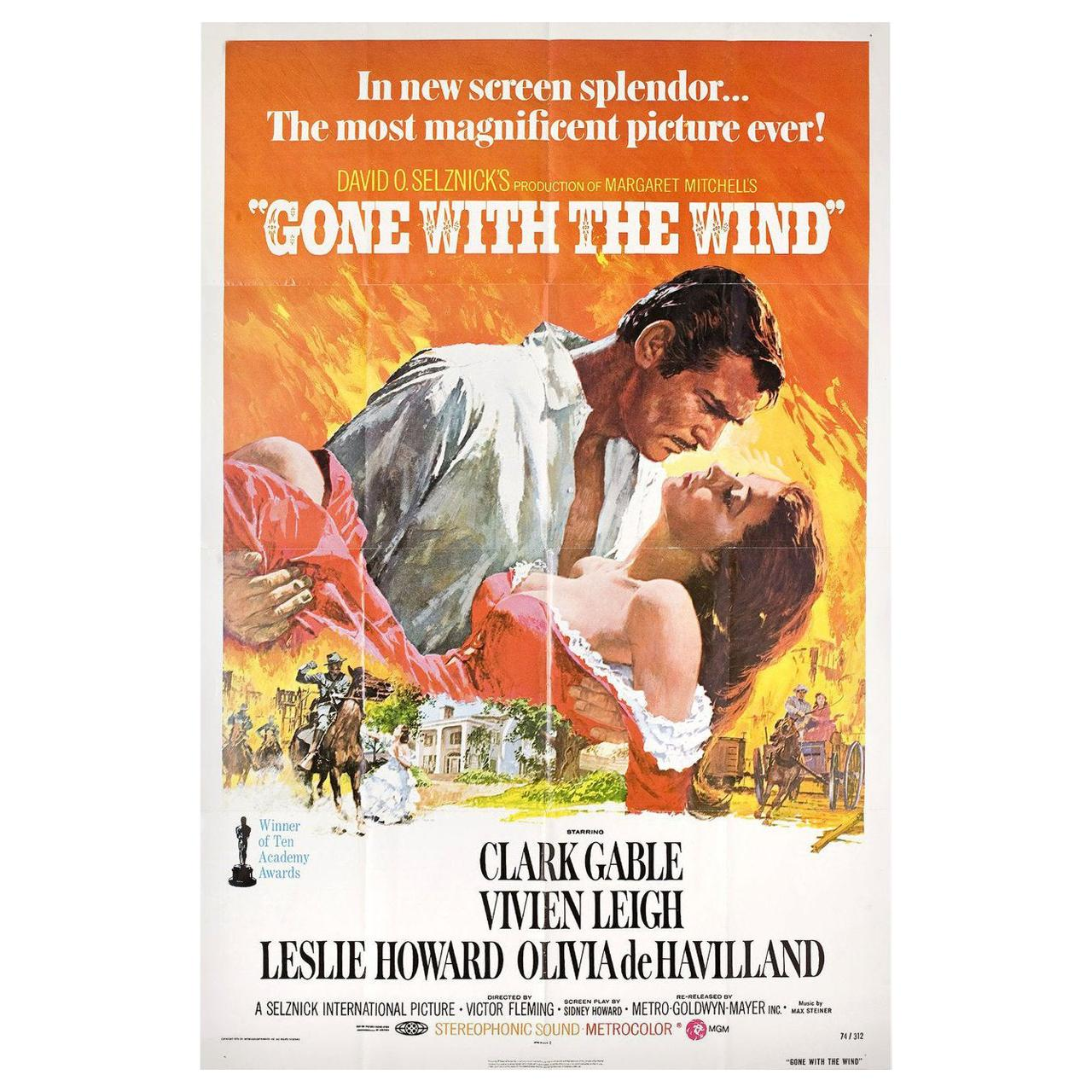 Gone with the Wind R1974 U.S. One Sheet Film Poster