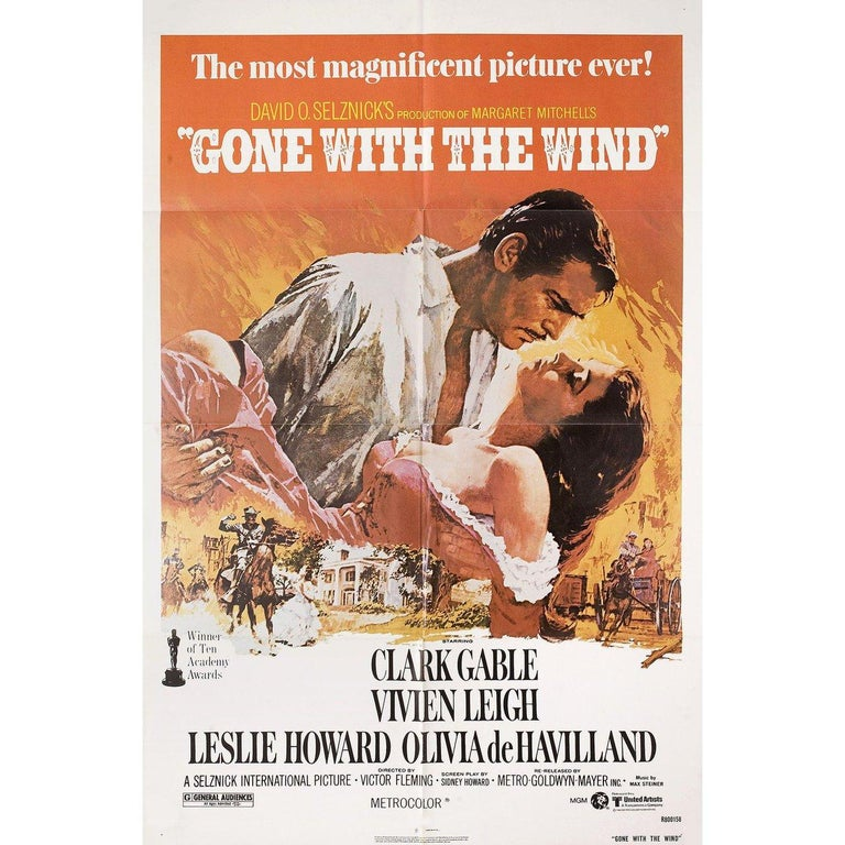 """Original 1980 re-release U.S. one sheet poster by Howard Terpning for the 1939 film """"Gone with the Wind"""" directed by Victor Fleming / George Cukor / Sam Wood with Thomas Mitchell / Barbara O'Neil / Vivien Leigh / Evelyn Keyes. Fine condition,"""