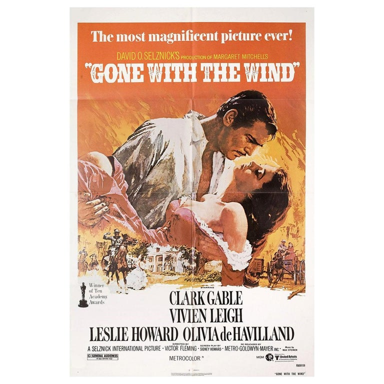 """""""Gone with the Wind"""" R1980 U.S. One Sheet Film Poster For Sale"""