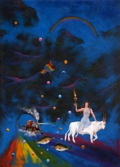La Noche De Los Globos, Surrealist Painting by Gonzalo Endara Crow
