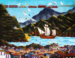 The Sailing Ship, Surrealist Painting by Gonzalo Endara Crow