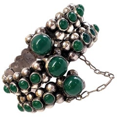 Gonzalo Moreno Mexico Sterling Silver Green Onyx Hinged Bracelet