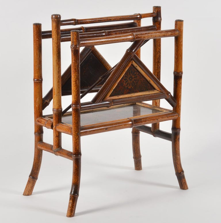 Chinoiserie Good 19th Century English Bamboo and Japanned Lacquer Canterbury For Sale