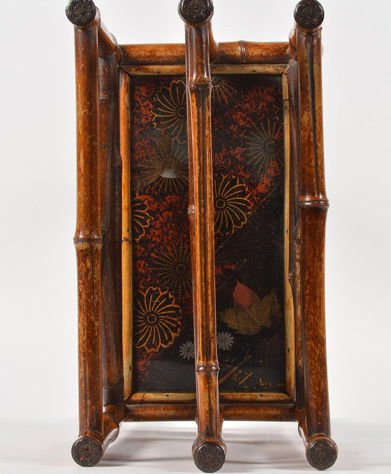 Good 19th Century English Bamboo and Japanned Lacquer Canterbury For Sale 2