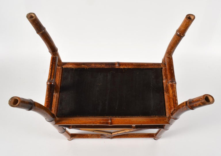 Good 19th Century English Bamboo and Japanned Lacquer Canterbury For Sale 5
