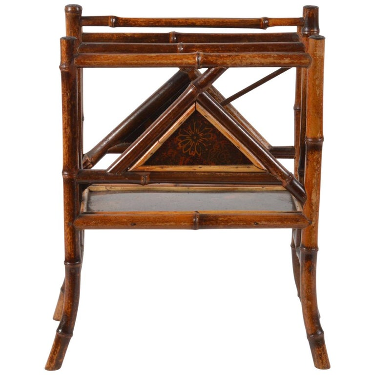 Good 19th Century English Bamboo and Japanned Lacquer Canterbury For Sale