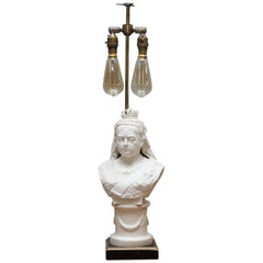 Good 19th Century Parian Figure of Queen Victoria Bust Made into a Table Lamp