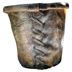 Good 19thC Stitched Vellum Bucket, c.1830-50
