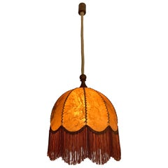 Good Looking Home Design Leather, Fringes, Wood and Rope Pendant Light, 1930s