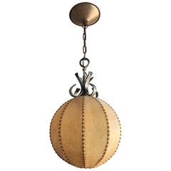 Good Looking Spherical or Round, Home Design 1930s Single Light Leather Pendant
