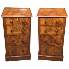 Good Pair of Burr Walnut Victorian Period Bedside Chests