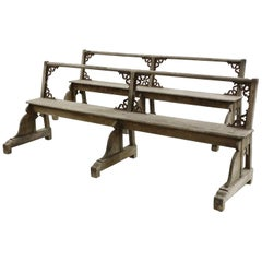 Good Pair of c.1900 French Gothic Revival Oak Benches