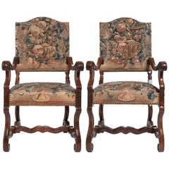 Good Pair of Gobelin Upholstered Walnut Louis XIV Armchairs