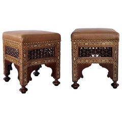 Good Pair of Moroccan Carved and Inlaid Square Upholstered Stools