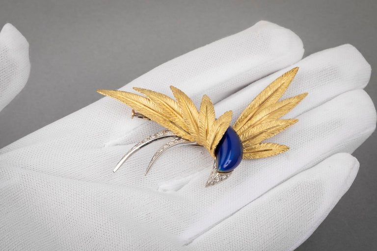 Good Platinum Enamel and Diamonds French Paradise Bird Brooch In Good Condition For Sale In Saint-Ouen, FR
