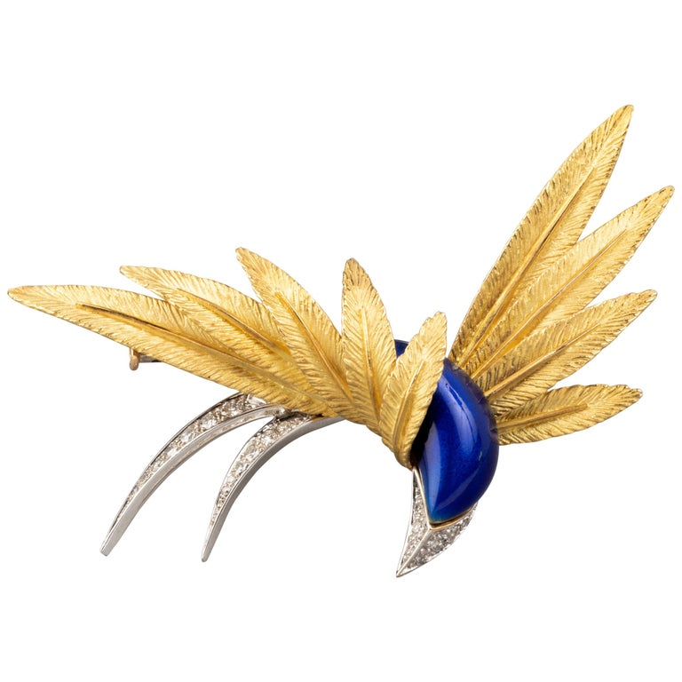 Good Platinum Enamel and Diamonds French Paradise Bird Brooch For Sale