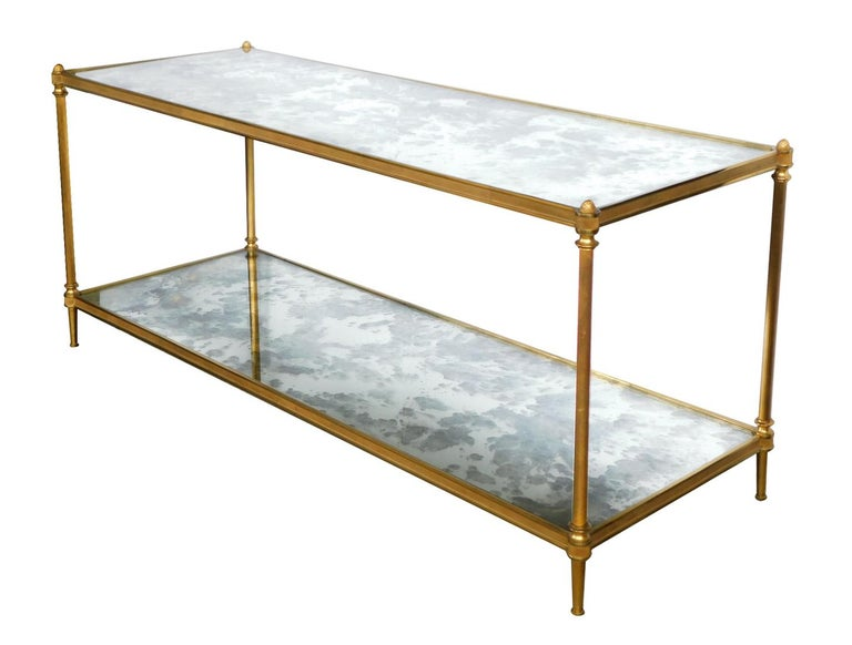 Mid-20th Century Good Quality 1960s Maison Jansen Gilt-Bronze and Mirrored 2-Tier Coffee Table For Sale