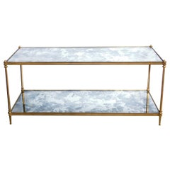 Good Quality 1960s Maison Jansen Gilt-Bronze and Mirrored 2-Tier Coffee Table
