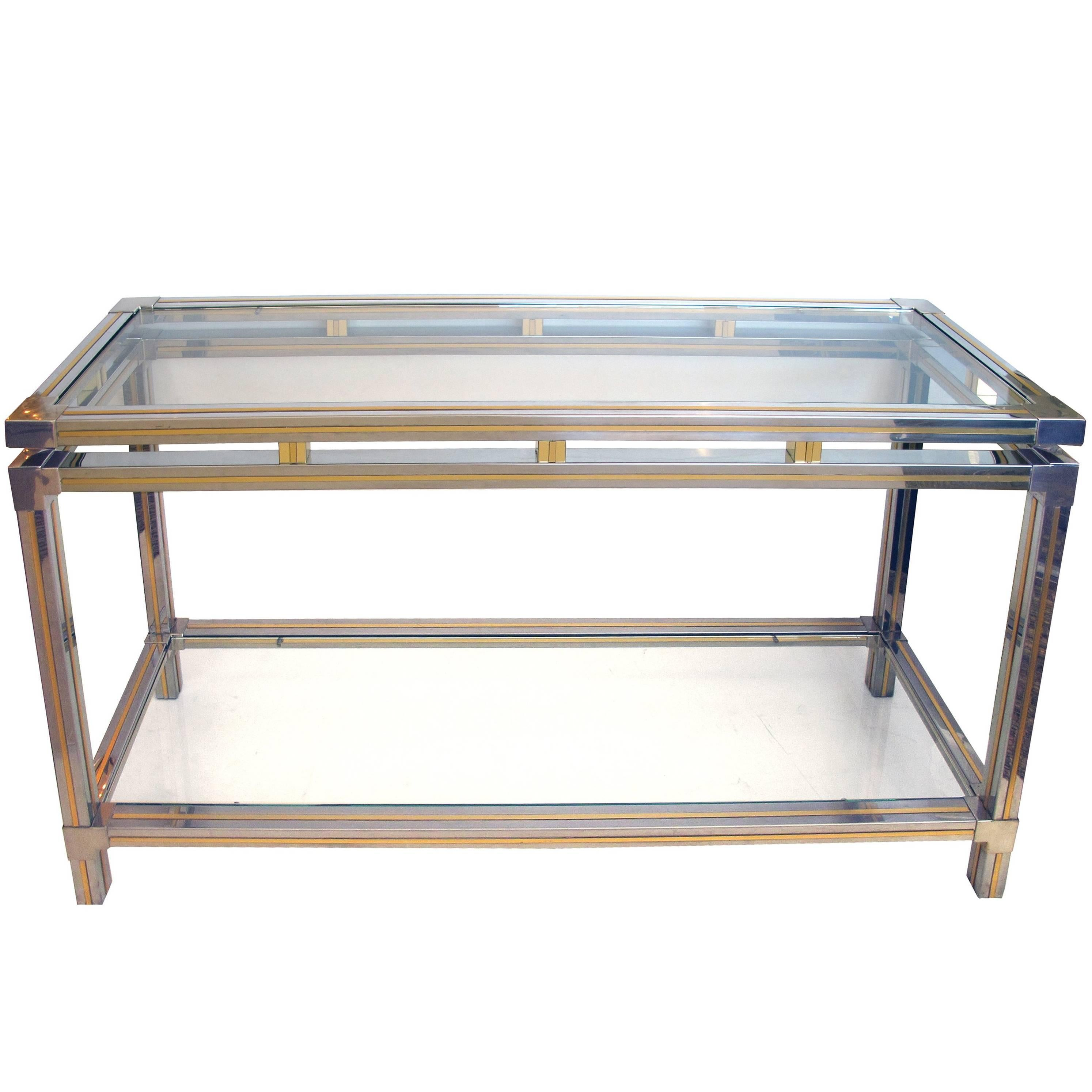 Good Quality French Chrome and Brass Console Table Designed by Guy Lefevre