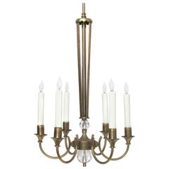 Good Quality French Midcentury Brass 6-Arm Chandelier Fitted with Glass Orbs