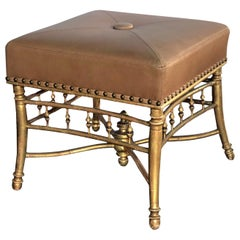 Good Quality Napoleon III Carved Giltwood Square-Form Stool