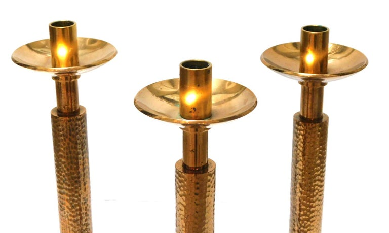 Hammered Good Quality Set of 3 of English Arts & Crafts Style Gilt-Bronze Candlesticks For Sale