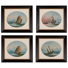 Good Set of Four Oil on Linen Paintings of Chinese Junks by NC
