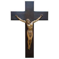 Good Size and Hand Carved Mid to Early 20th Century Corpus of Christ or Crucifix