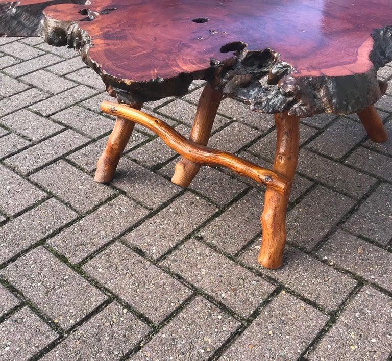 Good Size Midcentury Organical Shape Cherry Burl Coffee Table, Stunning Grain For Sale 5