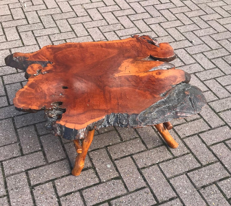 Hand-Crafted Good Size Midcentury Organical Shape Cherry Burl Coffee Table, Stunning Grain For Sale