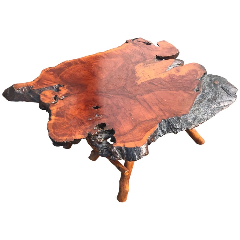 Good Size Midcentury Organical Shape Cherry Burl Coffee Table, Stunning Grain For Sale