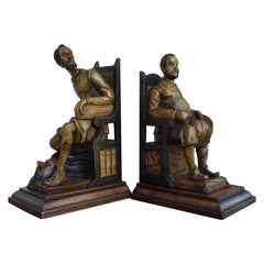 Good Size Pair of Hand Carved and Ebonized Don Quixote and Sancho Panza Bookends