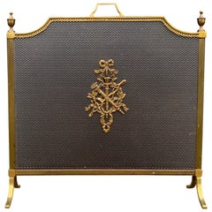 Good Size, Solid Bronze and Wrought Iron French Firescreen with Mint Wire Mesh