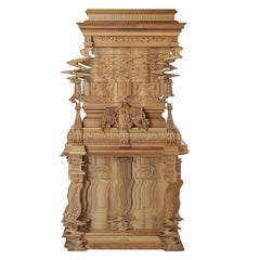 Good Vibrations Tall Cabinet in Solid Wood Made by Cnc Machine, Limited Edition