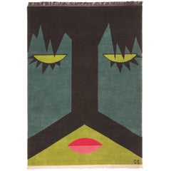 Wool Rug w/ graphic green black sleepy face by Cecilia Setterdahl for Carpets CC