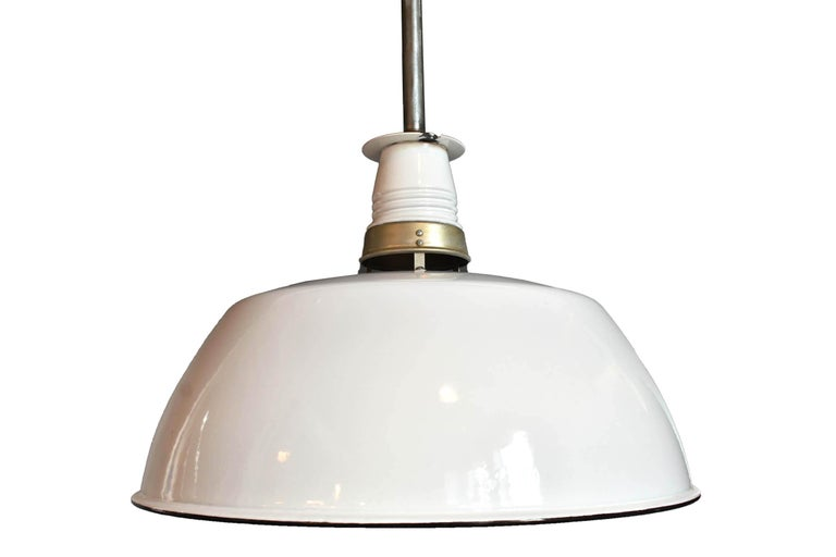 """AA# 47982,  circa 1930s-1940s Condition: Consistent with age / very good Material: Porcelain over metal Finish: Original Country of origin: USA Illumination: 1 standard Edison socket  Measures: 31""""drop as shown 20"""" diameter (fixture only)"""