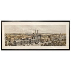 Goodyear Panoramic Factory Print with Gouache by Woodbury & Co, Worcester MA