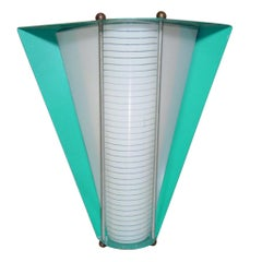 Googie Enameled Steel Wall Sconce with Glass Insert
