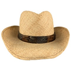 GOORIN BROTHERS Size L Natural Straw WOven Feather Stripe Cowboy Hat