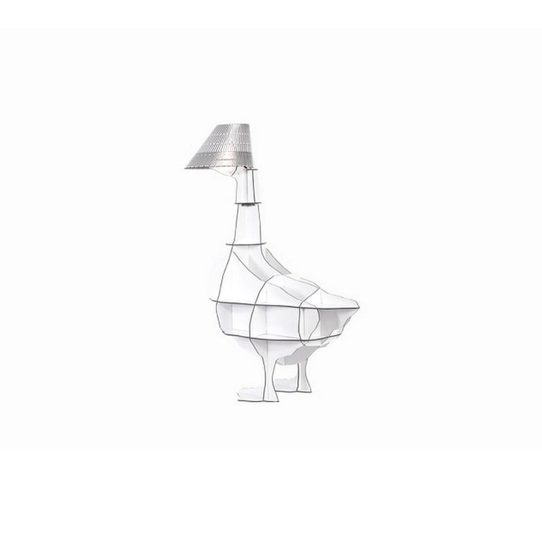 Modern Goose, White Bedside Table Lamp with Pivoting Lampshade, Made in France For Sale
