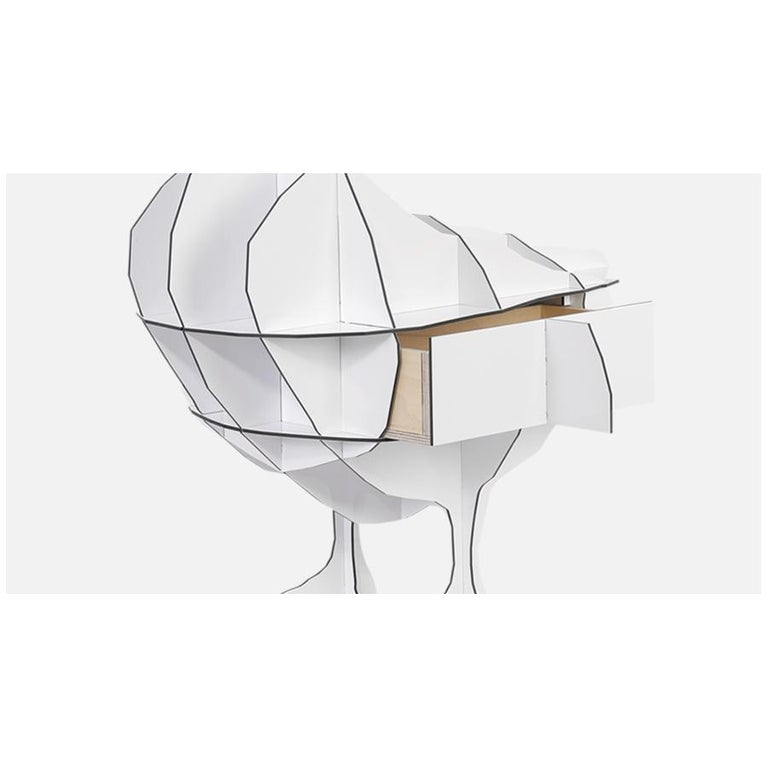 Goose, White Bedside Table Lamp with Pivoting Lampshade, Made in France In New Condition For Sale In Beverly Hills, CA