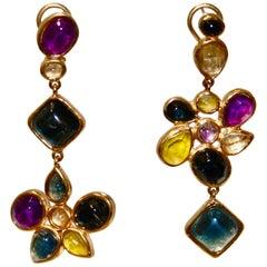 Goossens Paris Asymmetric Mini Cabochons Earrings